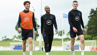 England's Ben Chilwell, Raheem Sterling and Declan Rice during training at St. George's Park
